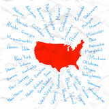 Hand Drawn USA states vector illustration Royalty Free Stock Photography