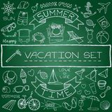 Hand drawn vacation icons set. Green chalk board effect. Vector illustration Stock Photography