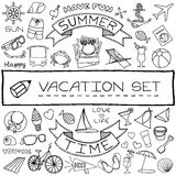 Hand drawn vacation icons set Stock Images