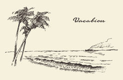 Hand drawn vacation poster seaside beach sketch Stock Photo