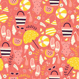 Hand Drawn Vacation Seamless Pattern. Royalty Free Stock Image