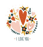 Hand drawn valentine card with flowers and lettering - `I love you`. Vector floral print design. Royalty Free Stock Images