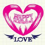 Hand drawn valentine day love beautiful card. Stock Photo