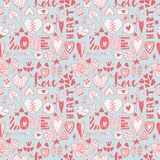 Hand drawn valentine  doodle seamless pattern Stock Photography