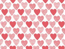 Hand Drawn Valentine Hearts Seamless Pattern. Isolated On White background. Good for wallpaper, wrapping paper, invitation cards. Vector illustration Royalty Free Stock Image