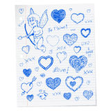 Hand drawn Valentine's day doodles Royalty Free Stock Photos