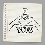 Hand-Drawn Valentine's Day Love You Royalty Free Stock Photography
