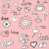 Hand drawn valentine\'s doodles. Valentine\'s doodles. lots of cute hand drawn design elements with hearts and text on pink background Royalty Free Stock Images