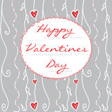Hand-drawn Valentines Day card on grey Stock Photo