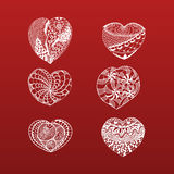 Hand Drawn Valentines Day doodle Hearts Collection Stock Image