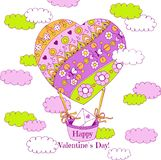 Hand drawn Valentines Day greeting card. With air balloon vector illustration
