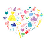 Hand Drawn Valentines Day Symbols. Children`s Cute Doodle Drawings of Colorful Hearts, Gifts, RingsArranged in a shape of Heart Royalty Free Stock Image