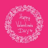 Valentines card-07. Hand drawn Valentines hearts border with lettering isolated on pink background. Design element for greeting cards and holiday decorations vector illustration