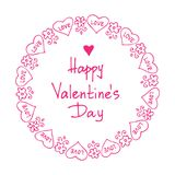 Valentines card-02. Hand drawn Valentines hearts border with lettering  isolated on white background. Design element for greeting cards and holiday decorations Stock Photos