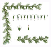 Hand Drawn Variety Pine Garland Corner White Twinkle Light Set Vector Royalty Free Stock Images