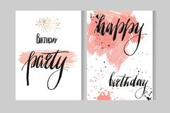 Hand drawn vecor abstract artistic modern watercolor cards template with ink lettering phases Happy birthday and Happy. Birthday party in pastel colors isolated Royalty Free Stock Photography