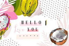 Hand drawn vector abstract artistic collage bright tropical header with exotic fruits coconut,carambola ,dragon fruit. And modern calligraphy quote Hello I love Stock Photography