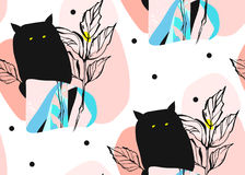 Hand drawn vector abstract artistic creative artworks illustrations seamless pattern with black cute monsters in night Royalty Free Stock Photography