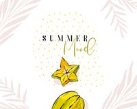 Hand drawn vector abstract artistic decoration header template. With exotic fruits carambola,palm leaves and modern calligraphy quote Summer Mood isolated on royalty free illustration