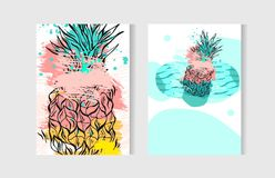 Hand drawn vector abstract artistic freehand drawing unusual summer time cards set template collection with pineapple. Fruit on ocean waves isolated on white Royalty Free Stock Image