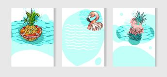 Hand drawn vector abstract artistic freehand drawing unusual summer time cards set template collection with pineapple. Fruit on ocean waves  on white background Royalty Free Stock Images