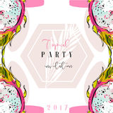 Hand drawn vector abstract artistic freehand textured summer time Tropical party invitation card template with exotic Royalty Free Stock Photo