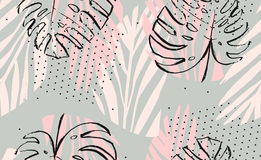 Hand drawn vector abstract artistic freehand textured tropical palm leaves seamless pattern in pastel colors with polka. Dots texture Royalty Free Stock Photos