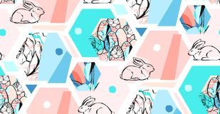 Hand drawn vector abstract artistic textured hexagon shapes decoration Easter collage seamless pattern with graphic Stock Photo