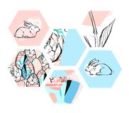 Hand drawn vector abstract artistic textured hexagon shapes Easter collage with graphic flowers,bunny and Easter eggs in Stock Image