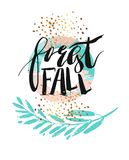 Hand drawn vector abstract artistic textured poster with handwritten modern ink lettering phase forest fall and golden. Glitter in pastel pink and tiffany blue Stock Photo