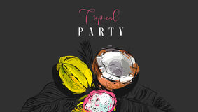 Hand drawn vector abstract artistic tropic party invitation poster with exotic fruits coconut,papaya,carambola ,dragon. Fruit and modern calligraphy quote Stock Images