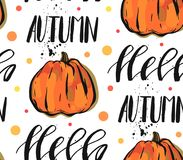 Hand drawn vector abstract autumn seamless pattern with pumpkin and handwritten lettering phase hello autumn on polka. Dot background on white vector illustration