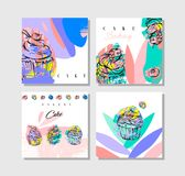 Hand drawn vector abstract cards collection set with collage cupcakes,freehand textures,berries and typography quote stock illustration