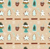 Hand drawn vector abstract cartoon Christmas seamless pattern with scandinavian home decorations elements glass bulb stock illustration