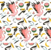 Hand drawn vector abstract cartoon graphic summer time beach illustrations seamless pattern with watermelon,gulls. Flamingo and toucan birds,banana and Stock Photos