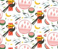 Hand drawn vector abstract cartoon graphic summer time beach illustrations seamless pattern with watermelon,gulls and. Toucan birds,banana and watermelon fruits Royalty Free Stock Photo