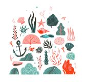 Hand drawn vector abstract cartoon graphic summer time underwater illustrations art collection set with coral reefs. Seaweeds,starfish,crab,anchor,stones and Royalty Free Stock Image
