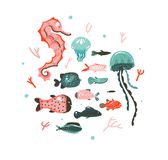 Hand drawn vector abstract cartoon graphic summer time underwater illustrations art collection set with coral reefs. Jellyfish,seahorse and different fishes Stock Photo