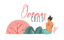 Hand drawn vector abstract cartoon graphic summer time underwater illustrations border with coral reefs,stones,beauty mermaid girl. Character and Ocean Child Royalty Free Stock Photo
