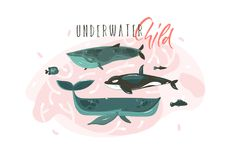 Hand drawn vector abstract cartoon graphic summer time underwater illustrations collection set with beauty big whales. Characters with Underwater Child Royalty Free Stock Photography