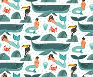 Hand drawn vector abstract cartoon graphic summer time underwater illustrations seamless pattern with coral reefs. Jellyfish and beauty bohemian mermaid girls Stock Images