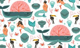 Hand drawn vector abstract cartoon graphic summer time underwater illustrations seamless pattern with coral reefs. Jellyfish and beauty bohemian mermaid girls Royalty Free Stock Images