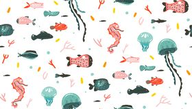Hand drawn vector abstract cartoon graphic summer time underwater illustrations seamless pattern with coral reefs. Jellyfish,seahorse and different fishes Royalty Free Stock Photos