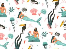 Hand drawn vector abstract cartoon graphic summer time underwater illustrations seamless pattern with jellyfish,fishes. And beauty bohemian mermaid girls Royalty Free Stock Photo