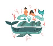 Hand drawn vector abstract cartoon graphic summer time underwater illustrations set with coral reefs,crab,jellyfish. Stones and beauty bohemian mermaid girls Stock Images