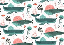 Hand drawn vector abstract cartoon graphic summer time underwater ocean bottom illustrations seamless pattern with coral. Reefs,beauty big whales,seaweeds and Royalty Free Stock Image