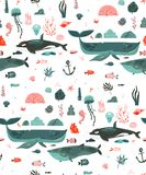Hand drawn vector abstract cartoon graphic summer time underwater ocean bottom illustrations seamless pattern with coral Royalty Free Stock Photos