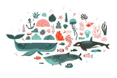 Hand drawn vector abstract cartoon graphic underwater world big illustrations collection set with coral reefs,beauty royalty free illustration