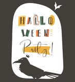 Hand drawn vector abstract cartoon Happy Halloween illustration party poster with different decoration elements,raven. And modern calligraphy phase Halloween Stock Image