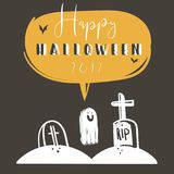 Hand drawn vector abstract cartoon Happy Halloween illustration poster with bats,graves,ghost and modern calligraphy. Phase Happy Halloween 2017 isolated on Stock Images